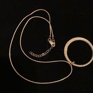 Jewelry - 925 Silver precious hoop  charm with necklace